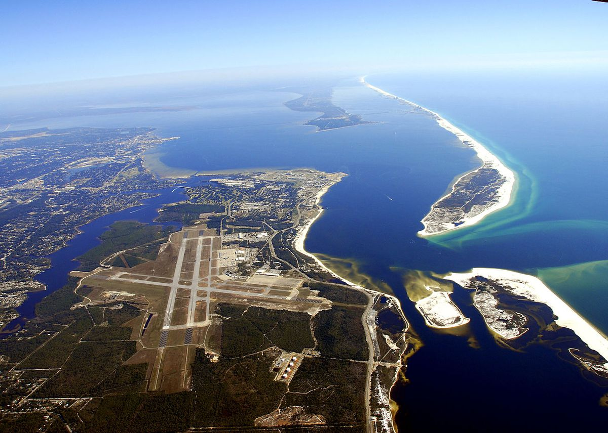 An aerial view of Naval Air Station Pensacola.