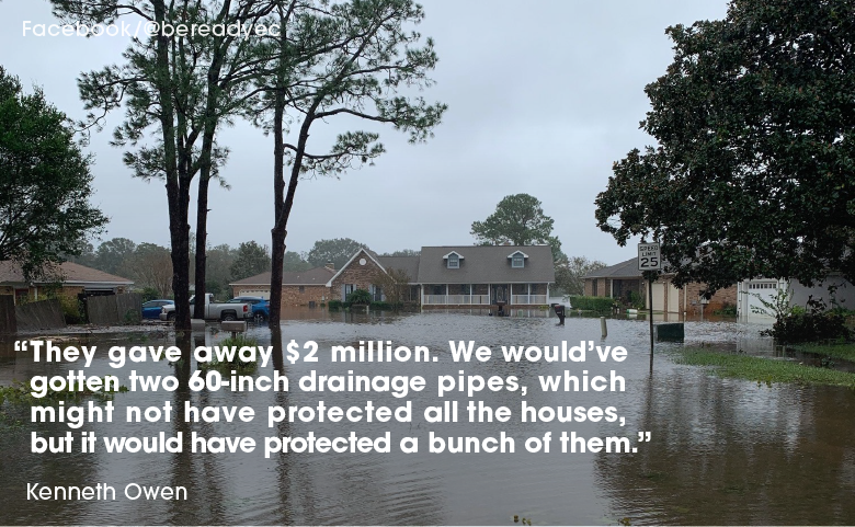 Lake Charlene shown flooded with a quote from a resident.